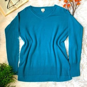 2/$15 V-Neck Vibrant Tropical Teal Sweater